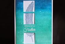 feathers cards / cards with feathers