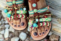 Boho summer sandals / Boho summer sandals • handmade decorated sandals • diy sandals
