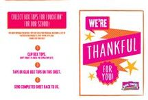 "Thank You card collection sheet / They've given you Box Tops before, now it's time to say ""Thanks!"" -- and ask for a few more clips. Here's a thank you card (color or black and white) you can print at home that includes a 10-clip collection sheet your friends and family can fill up and send back to you. Take it with you over the holidays or mail it to folks who can help you collect. Every clip counts! / by Box Tops for Education"