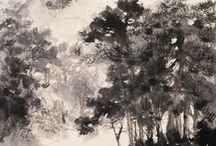 Trees, forests & gardens / Drawings, paintings and prints of trees, forests & gardens.