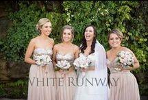 Real Runway / Real Wedding photos of White Runway brides and bridesmaids.