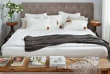 Boudoir / Bedroom | bedding | headboards | artwork | retreat | bedroom retreat | home interiors | bedroom makeover | duvet | grey walls | design | neutral bedding | tufted headboard | sisal rugs