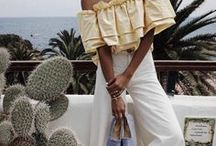 Summer Fashion and Style / Summer outfits, style, and dreams. Kaftans, espadrilles, sandals, summer dresses, white lace, nautical stripes, and straw hats.