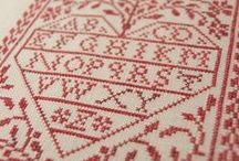 Modern Folk / Original cross-stitch patterns with a folk aesthetic, influenced by traditional embroidery and antique samplers, with a Scandinavian touch.