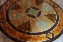 Decorative Concrete: Artwork / We can etch, score (shallow saw-cut), sandblast, or dye nearly anything into a slab of concrete.