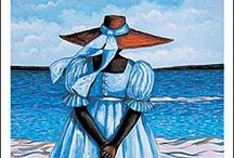 Jonathan Green - Gullah Artist / Jonathan depicts women & men at work & at leisure.  He likes bright colors especially yellows & reds.  Too, Jonathan appreciates woven hats & adorns them with pretty ribbons.  As with most Gullah artists, many scenarios center around the water.  / by Sara Perry