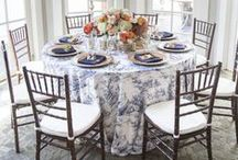 Blue Weddings / blue hued weddings, decor items + beautiful blue table linens, chair covers, and other accents
