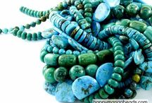 Turquoise Beads / Turquoise is one of the most highly prized minerals in the world. We offer turquoise in a variety of colors and many of the beads have varying degrees of matrix, which is the brown or black veining in the stone. Because turquoise is a porous stone it is commonly stabilized or treated to seal the surface. This process protects the color and increases it's durability.  / by Happy Mango Beads