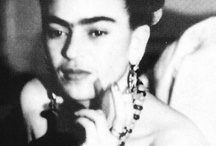 "Frida Kahlo: wish I could have met you / Frida Kahlo de Rivera,July 6, 1907- July 13, 1954; was a Mexican painter, best known for her self-portraits.Kahlo had polio when she was six. Her right leg was thinner than the left, and she  wore long, colorful skirts. When she was 18, she suffered a horrible accident when the bus she was riding in collided with a trolley ""I paint myself because I am so often alone and because I am the subject I know best."" She also said, ""I was born a bitch. I was born a painter."" / by Lizzie L"