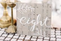 Wedding Ideas: table numbers and names / Ideas for wedding table names and numbers