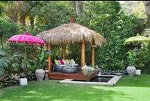 Tropical Yard Decor / Miss the beach and the waves? Add lighted palm trees, flamingos, and tiki bars and bring the tropics home. Tropical landscapes, decor, party ideas, and yards!