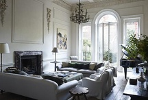 Living Room Interiors / Sitting & Living Room: French, shades of grey, monochrome, rustic and shabby chic styles / by Home & Pantry