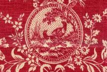 toile de jouy red / vintage fabrics and prints
