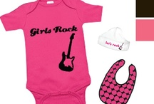 Punk Rock Girl - Design A Doll Outfit Option 3 / The Punk Rock ensemble includes a onesie, an additional onesie, hat, shoes, blanket, bib and toy all based on a sunshine, mommy loves baby theme. *Note: some items, colors and graphics may change in final production. / by Paradise Galleries