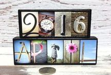 Calendar Decor - Seasons & Months of the Year - Letters of Love Designs / I photograph things that look like letters & make them into wood signs.  These sweet little seasons and months signs make great pieces for your home, and lovely gifts, too!!!   Any month, season, or year available.