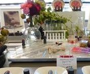 """Fern & Maple Corporate Events - Sephora / A cocktail Party @Benefit headquarters for the """"Star Council"""", the top 35 store directors around North America and Sephora senior executives. The theme of the event was """"Leading Brilliance"""" which we interpreted as brilliant cut, diamonds, pure gems, etc...we went for geometric / gem shapes, Sephora colors of Bblack & white, incorporating gem bling with silver & gold in addition to this years pantone color of the year Marsala."""