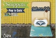 Snippets Collection Pop 'n Cuts and More! / The Sizzix Snippets Pop 'n Cuts collection adds three new inserts: House, Multi-Tier and Sassy Label, plus eleven new decorator dies including three sets of Stitched Framelits.