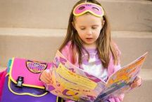 Little Superheroes / SuperME cape backpacks and messengers combine the functionality of bags with the fun of dress-up play