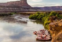 """Cataract Canyon Rafting / This Colorado River Rafting trip takes us through the heart of Canyonlands National Park balancing complete tranquility with out and out white water adventure. 23 """"Big Ones"""" among them Mile Long, The North Sea and the grand-daddy rapid, The Big Drops, a succession of three big-hitters that will take you laughing and cheering 30 feet closer to sea level in less than a mile."""