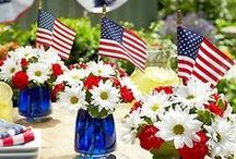 Red, White & Blue  / Get creative with pretty 4th of July decorations and displays that spread holiday cheer both indoors and out. Make your backyard  event even more festive w/ great ideas to give your party a little extra holiday sparkle.