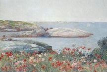 """America's Monet"" Travel Board / Plan a trip to coastal Maine - or just visit the NCMA spring exhibition ""American Impressionist"" in Raleigh March 19-June 19! Either way, here's a fun look at the Isles of Shoals, a group of islands off the coast of Maine and artist Childe Hassam's source of summer inspiration back in the 1800s. Details at ncartmuseum.org. #NCMAhassam"