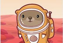 Otter on Mars / OTTERGALACTIC T-Shirts, bags, cases and accessories