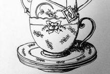 ART   cups / tea and coffee cup- zentangles