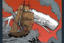 """MOBY-DICK / """"And he piled upon the whale's white hump the sum of all the rage and hate felt by his whole race.If his chest had been a cannon he would have shot his heart upon it."""" / by midoshichi takuku"""