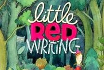 Little Red Writing / Little Red Writing is a picture book take-off on the Little Red Riding Hood fairy tale starring a brave red pencil, who writes a story and comes up against a grrrowly pencil sharpener. by Joan Holub and Melissa Sweet. (Chronicle Books)