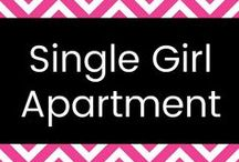 """Single Girl Apartment / I may be FAR from single (happily married wife and mom here!) but my inner decorating diva is inspired by pretty, feminine decor that I see in the homes of trendy single girls across the land. """"Single girl style"""" is girly, elegant, and sweet. I have a home overrun by males and their messes, but ONE DAY, oh yes...I will have a beautifully-decorated, neat, clean, home with lots of breakables, clean floors, and many white things. :-) Love my boys, but I love girly style."""