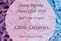 Little Luxuries: Shawl Club 2016 / We're super-excited that sign-ups are open for the Sweet Paprika Shawl Club! Members will receive three packages, shipped in April, June, and August 2016. Each package will include an exclusive lace shawl pattern, a skein or two of Sweet Paprika hand-dyed yarn to knit it with, a tin of custom-blended tea from Puretea, and a little surprise from Fancy That.  / by Sweet Paprika Designs