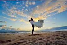 Beach Wedding Photos / Surf, sand, and sunsets. What else could possibly make for more romantic images? Here we have the very best of beach wedding photos.