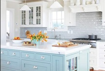 *Home - I Heart White Kitchens...and blue ones too / by krista@thehappyhousie