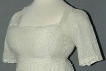 19th century: Beaded regency dress / Regency dress made out of beaded fabric.