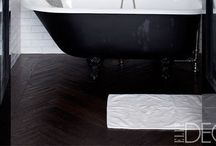 Bathrooms {the perfect mix} / A variety of baths, from woodtones, to dark or colored tiles...