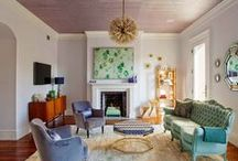 Living Rooms {so cool-blues, & greens}