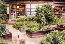 Earthy Contemporary Garden Design / Contemporary and of the moment.  Long low clean lines, neutrality with pops of color, big expanses and trendy materials (which is lately al of of corten steel).   modern garden  modern design contemporary garden design style less is more Geometric Layouts punchy color color block gardens