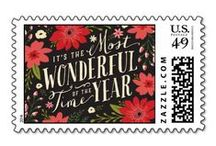 Christmas Holiday Postage Stamps / Christmas and holiday postage stamps, so many designs to choose from, perfect for your holiday greeting cards. These beautiful postage stamps are available in thirteen postage denominations, in three sizes, landscape or portrait, 20 stamps per sheet. Some of these beautiful holiday postage stamps can be customized with text or even a photo! Santa postage, reindeer postage, personalized postage, angel postage, cardinal postage, penguin postage, many other designs!