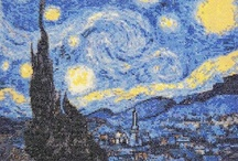 Van Gogh cross stitch / The famous starry night by Vincent Van Gogh in cross stitch kit. The design has whole/full stitches only, no backstitch or half stitches. If you have the threads and fabric you can purchase the cross stitch pattern only  Colours: 22  Kit contains: Pattern, 14 ct aida or 28 ct evenweave, threads pre-wound on card bobbins, needle and instructions.  Pattern contains: Pattern in several A4 pages with black & white symbols, list of threads required and instructions. / by Yiota's cross stitch