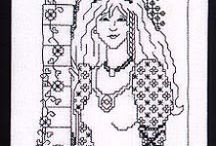 Cross Stitch - Black Work/Blue / Black or Blue Patterns to use for Cross Stitch or Embroidery. / by Julie Piggott