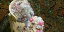 Alkotásaim - Vintage esküvői szett- My Handmade flowers - Vintage Wedding set
