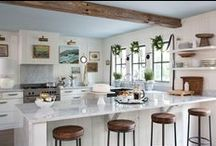 KITCHENS / kitchen spaces that I like — a mix of contemporary, cottage and industrial