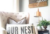 Home Decor- Living Rooms / Cozy and inviting living rooms. Farmhouse and rustic living spaces. Inspiration and ideas for you main living room! Neutral living rooms, entertainment centers, coffee tables home decor with Fixer upper style.