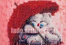 Fridge magnet DIY bead embroidery kit / This kit is excellent for beginners, who are not familiar with bead embroidery and want to try this amazing art.  BEAD EMBROIDERY DIY kit with magnet contains all necessary to get finished piece of art Lado.artfire.com