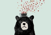 animals / Illustrations and drawings of animals: bear, cat, dog, bunny, bird