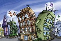 Ilustrações para Revista Espaço Imóvel / Ilustrações de capa e cartuns feitos para a Revista Espaço Imóvel, editada pelo SECOVI/AGADEMI /RS.