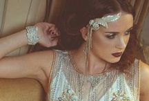 Art Deco Bridal Style / Razzle dazzle in lots of geometric shaped sparkly accessories where bling is king.  Think Great Gatsby film set - champagne, sequins and a whole lot of style.