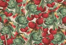 New Fabrics: Clothworks and P&B / For those journeys of nostalgia in the kitchen, look no further. The green fusion of homegrown vegetable and twenties text. Can you believe these aren't from the same line?