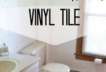 DIY - Bathroom Remodel / Tips to remodel a bathroom on a budget. Cover floors, paint over tile, and refresh and renew a tired bathroom.