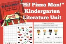 "Kindergarten Literature Unit Ideas ~ ""Hi! Pizza Man!"" / Printables, Crafts, and ideas for Kindergartners all centered around the book, ""Hi! Pizza Man!"" You'll find ideas centered around the ""pizza"" theme as well as the 6 animals featured in the story {cat, dog, duck, snake, dinosaur, and cow}"